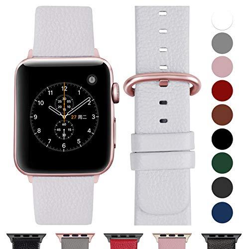 Fullmosa Cinturino Apple Watch 38 mm, iWatch Cinturino Pelle per Apple Watch iWatch Serie 5, Serie 4, Serie 3, Serie 2, Serie 1, Sport, Nike+, Hermès, Edition, Bianca+Fibbia in Oro Rosa