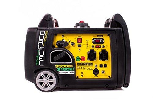 Champion Dual Fuel Inverter 3500W Gasolina Generador 3150W Gas Generadores de Corriente EU con S de Inicio de Corriente de Emergencia, Amarillo Negro
