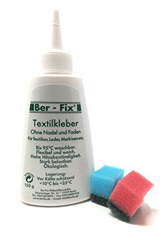 Ber-Fix Textilkleber, waschbar bei 95°C, für Leder, Textilien, Kunstleder und Neopren, 150ml