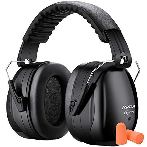 Mpow Foldable Earmuff for Sound Reduction Double NRR Noise Cancellation Hear Protection with A Carrying Bag and 2 Pairs Earplugs (Black)