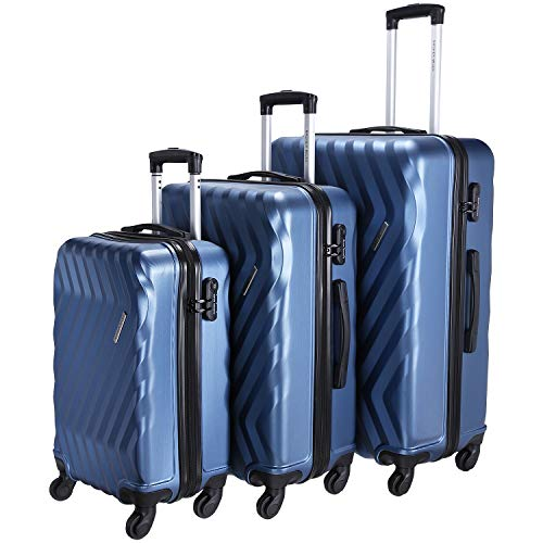 Nasher Miles Lombard Hard-Sided Polycarbonate Luggage Set of 3 Blue Trolley Bags (55, 65 & 75 cm)