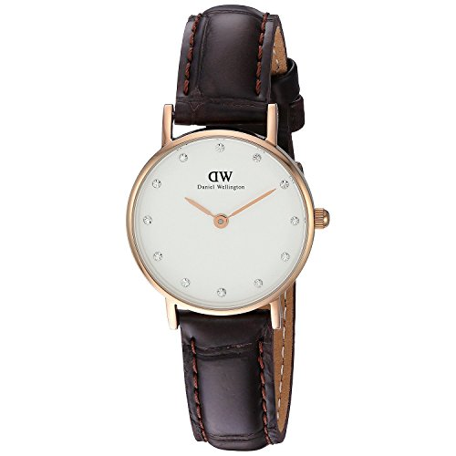 Daniel Wellington Damen-Armbanduhr Analog Quarz Leder DW00100061,weiß-rose gold