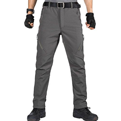 FREE SOLDIER - Pantalones Softshell para Hombre, Impermeables y Cortavientos, para Escalada y Senderismo, con Forro 36 Gris
