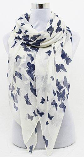 HotStyleZone - Nueva Bufanda Chal Sarong con Impresión de Mariposa Color Rosa Gris Negro Morado - no presente, Blancuzco
