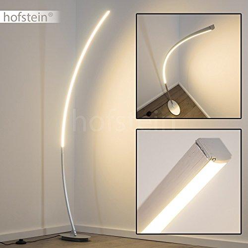 LED Stehleuchte Elegante Standlampe Mit Warmweissem Licht 300 Kelvin 11 Watt Und Fussschalter Aluminium Geburstet