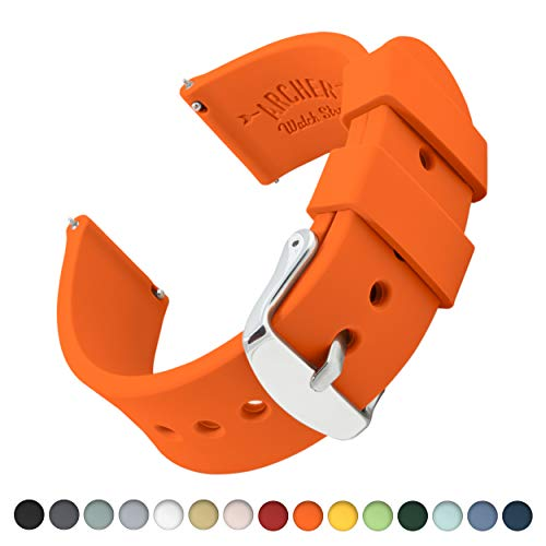 Archer Watch Straps   Ricambio di Cinturino di Silicone per Uomo e Donna, Caucciù Sgancio Rapido per Orologi e Smartwatch   Arancione, 22mm