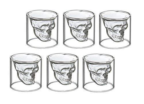 6 bicchierini da liquore con disegno di teschio, da shot, per vodka o liquori, in vetro, 6...