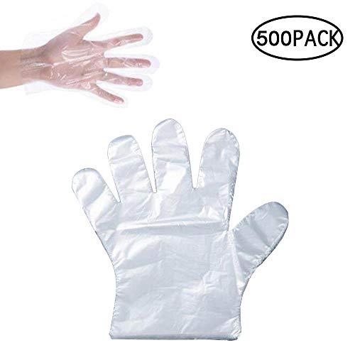 FOONEE Guanti di plastica usa e getta, 500 pezzi, guanti in vinile sterile, guanti trasparenti...