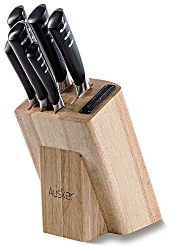 Ausker - Set Coltelli da Cucina Professionali in Acciaio Inox con Ceppo Coltelli in Legno e...