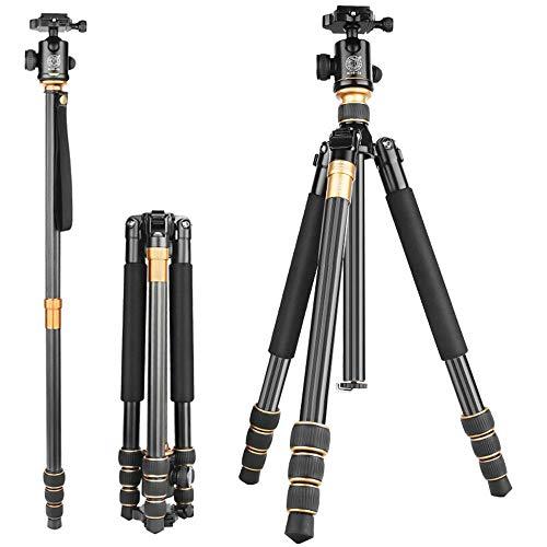 Camera Tripod Telecamera portatile treppiede in fibra di carbonio Treppiede testa a sfera e pezzi di 1/4' Piastra Quick Release for for la corsa for DSLR Canon Nikon Sony fotocamera (Q999C) Camera tre