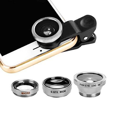 Daqin Lenti Grandangolari 3-in-1 per Fotocamera Digitale con Obiettivo Fish Eye per Cellulari con Clip 0.67x per Tutti I Telefoni Cellulari (Color : Silver)