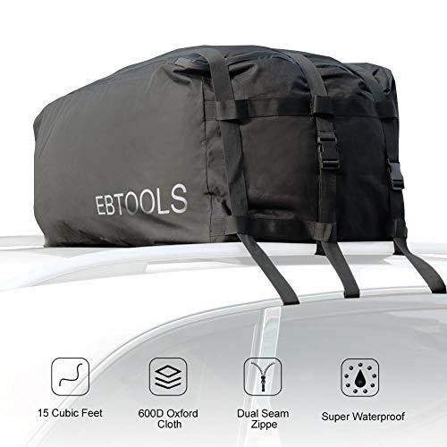 EBTOOLS Box da Tetto Auto,Portabagagli da tetto per auto, Hitch Car Cargo Bag Carrier, Impermeabile...