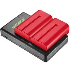 Neewer 2 Piezas 2600mAh Sony NPF550/570/530 Reemplazo de Batería de Iones de Litio (Rojo) con Cargador Doble para Sony HandyCams, Neewer LED de Luz, Neewer 759 74K 760 Feelworld Monitor de Campo