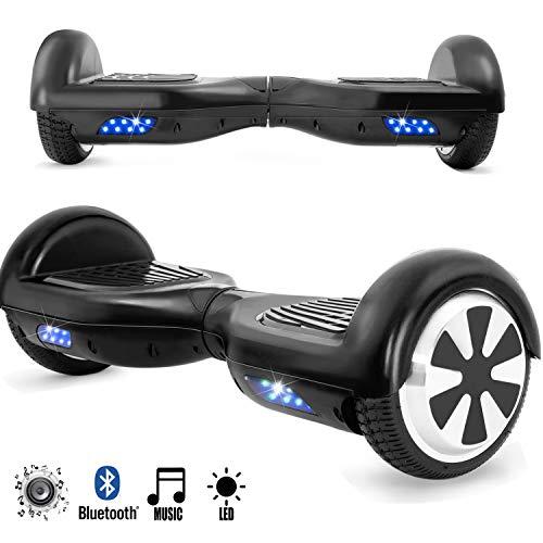 Magic Vida Skateboard Électrique Noir 6.5 Pouces avec Bluetooth LED Puissance 700W Auto-Équilibrage pour Enfants et Adultes Gyropode Haut-Parleur de Bonne qualité