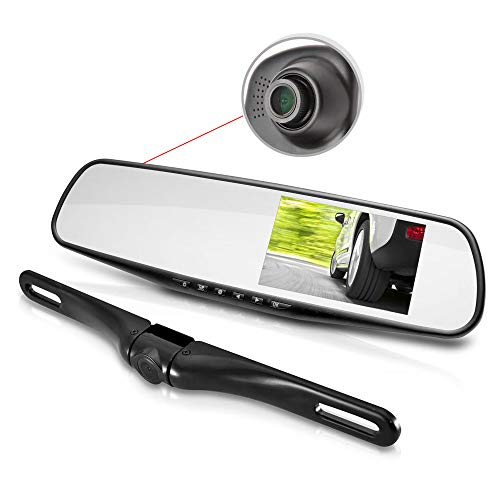 Pyle PLCMDVR45 - HD 1080p 2 Camera Recording Backup Camera and Mirror Monitor with Dual Front Facing Dash Cam - Records Both Camera s Videos to Built in DVR