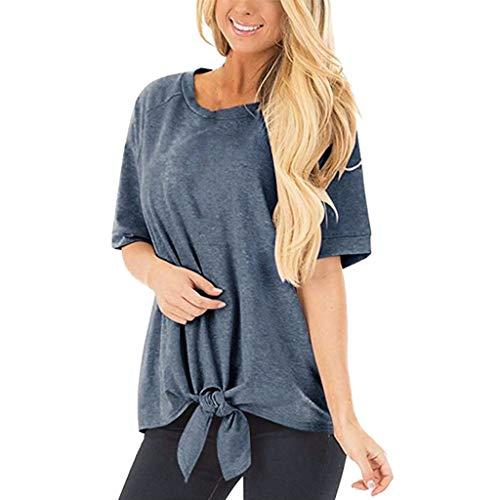 iCerber Camiseta De Verano para Mujer,Color SóLido Cuello Redondo Manga Corta Camiseta Informal Holgada, Camiseta De Madre con Encaje Y Top para Mujer