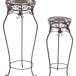 floristikvergleich.de 2x Blumentisch Blumenständer Beistelltisch Garten braun Eisen Blumensäule Tisch