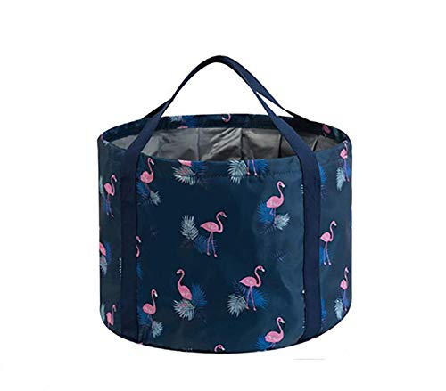 House of Quirk Multifunctional Foldable Water Bucket, Collapsible Portable Travel Outdoor Wash Basin Folding Bucket for Fishing, Camping, Hiking, Travel - (18L Dark Blue Flamingo Printed)