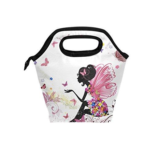 JSTEL - Bolsa de almuerzo con diseño de mariposas y bolso de mano, bolsa de almuerzo, contenedor de alimentos para gourmet Bento