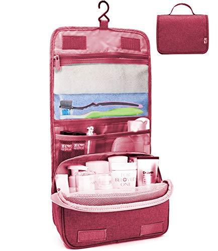 Kulturtasche zum Aufhängen Faltbarer Reise Kulturbeutel mit Tragegriff, Waschtasche, Waschbeutel für Herren, Damen (Rot)