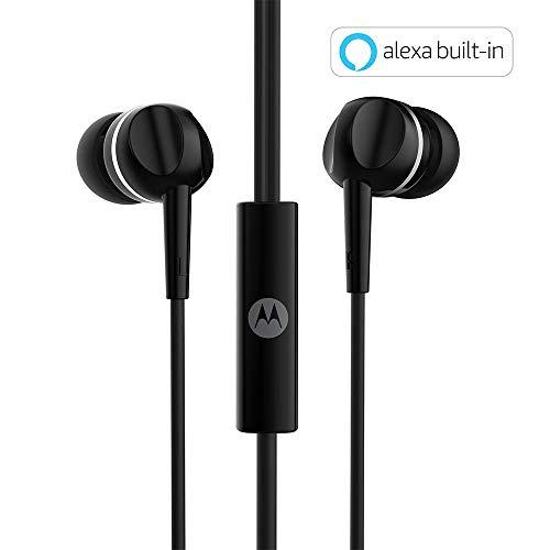 Motorola Pace 100 in-Ear Headphones with Mic & Alexa Built-in(Black)