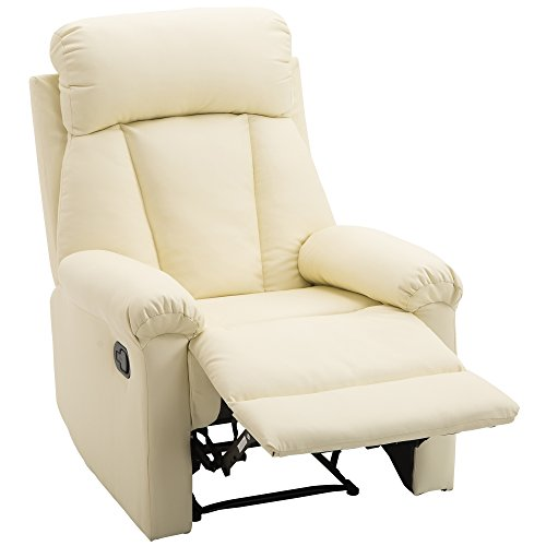 HOMCOM Poltrona Relax Reclinabile Imbottita Ergonomica con Poggiapiedi Ecopelle 80 × 97 × 107cm Crema