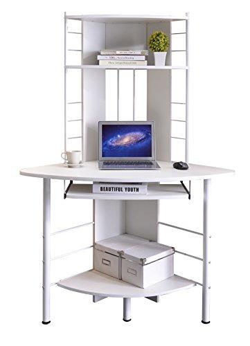 SixBros. Office - Scrivania Ufficio Porta pc angolare - Blanco - B-1010/2076 - MDF Granito Bianco