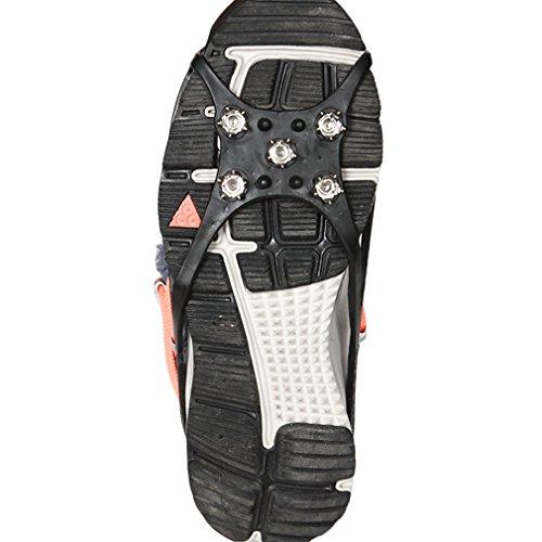 KinshopS Acero Inoxidable & Rubber Top Calidad 5Dientes Antideslizantes Nieve Hielo Crampones Zapatos Cadena Cornamusa para Senderismo Escalada Llegada L (36–44)