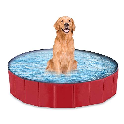 mewmewcat Hundepool Doggy Pool Faltbarer Schwimmbad Für Hunde Hündchen 160 * 30 cm Rot
