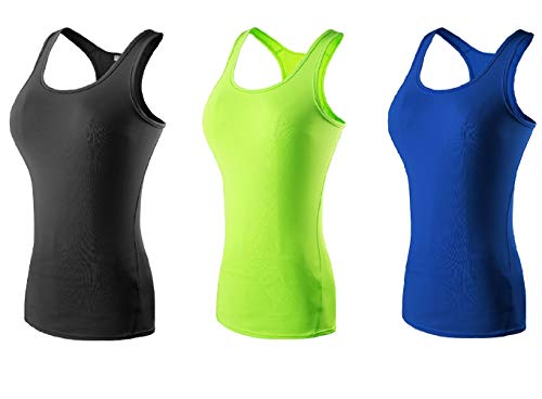 The Blazze Women's Yoga Tank Top Compression Racerback Top Baselayer Quick Dry Sports Runing Vest (XXL, Black+Green+Royal Blue)