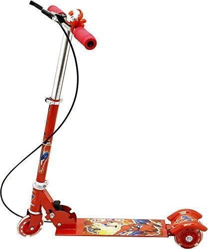 MM RETAILS 3-Wheel Height Adjustable Folding Kick Kids Scooty Scooter Toy with Shockers and Light in Wheels (Red)