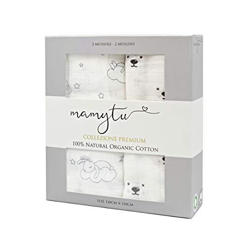 Copertine neonato Mamytu -  2 Mussole 100% Cotone Biologico qualità Premium ipoallergenico per...