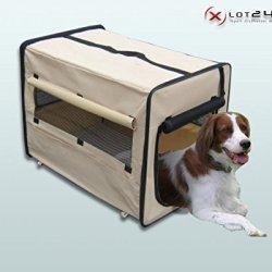 hundeinfo24.de Faltbare Hundebox / Auto Transportbox / Transporthütte / Hundehütte L Beige