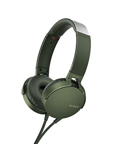 Sony MDR-XB550APG - Auriculares de Diadema Extra Bass (micrófono Integrado Compatible con Smartphones, Diadema metálica Adaptable) Color Verde