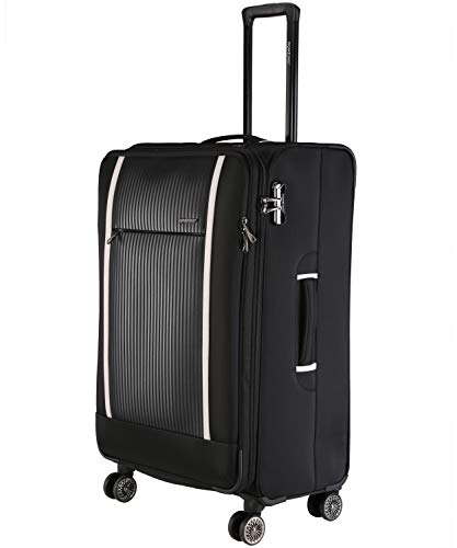 ROMEING Bruna Softside Spinner Luggage Polyester Expandable Check-in Trolley Bag (Black) (75 cms)