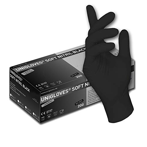 200 pezzi. (1 scatola) nero guanti usa e getta - guanti senza polvere di nitrile guanti da cucina,...