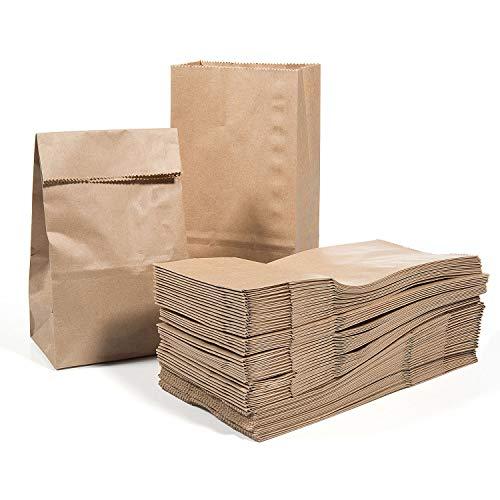 Vordas 100 Sacchetti di Carta con Fondo 17 x 9 x 5 cm - 70 g./m2, Sacchetti di Carta per Alimenti...