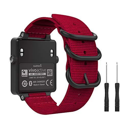 MoKo Garmin Vivoactive Acetate Cinturino, Morbido Braccialetto Regolabile in Nylon + Connettore Metallico con Fibbia Classica - Rosso