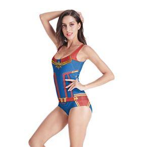 QWEASZER Avengers: Endgame, traje de baño de Captain Marvel, disfraz, traje de baño, traje de baño, traje de baño de…