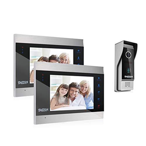 TMEZON Videocitofono Video Door Phone,2x7 pollici LCD Touch Screen Monitor,1200TVL Campanello...