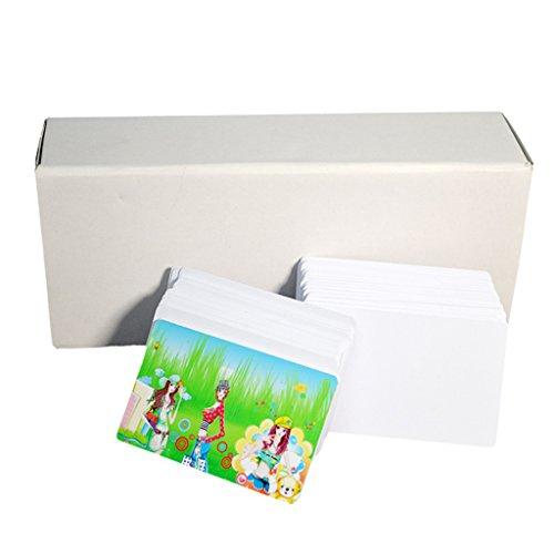 Emore CR80, biglietti bianchi di plastica PVC, vuoti, 30 mil, per stampanti Epson a inchiostro
