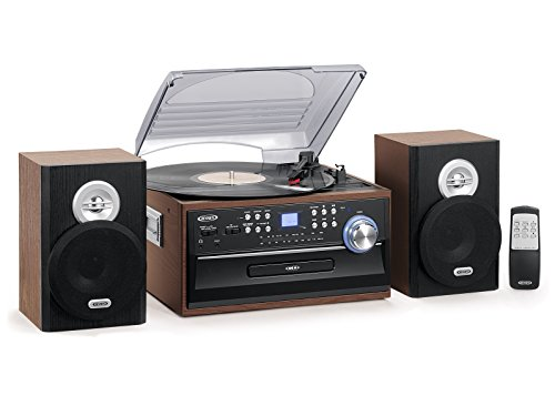 Jensen 3-Speed Turntable Music System Limited Edition JTA475W LCD Display with Front Loading CD Player