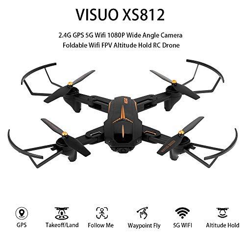 Festnight VISUO XS812 2.4G GPS 5G WiFi 1080P Telecamera grandangolare Pieghevole WiFi FPV Altitude Hold RC Drone w / 2 Batterie