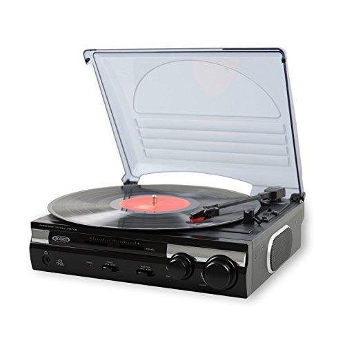 Jensen JTA-230 3 Speed Stereo Turntable with Built In Speakers; Vinyl Player!