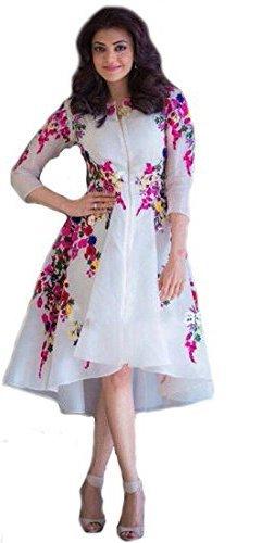 White World Women's Embroidery Semi Stitched White Kurti(rainbow_kurti)