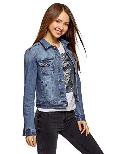 oodji Ultra Donna Giacca in Jeans Basic, Blu, IT 38 / EU 34 / XXS