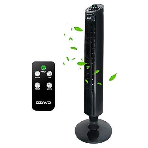 OZAVO Ventilatore a Torre con Timer | 3 Livelli di Potenza | Oscillazione a 75° | Silenzioso | NERO