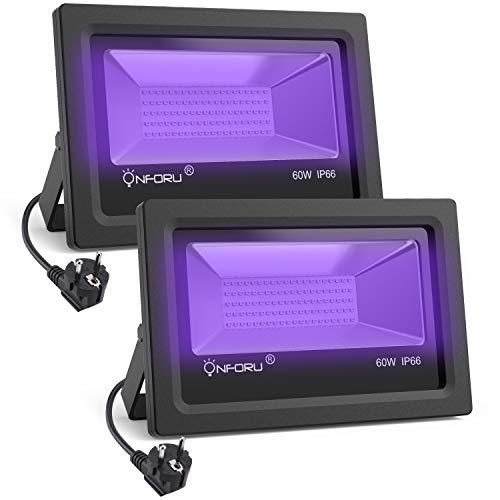 Set di 2 lampade a luce nera da 60W, Proiettore a LED per esterni UV, Impermeabile IP66, Proiettori...