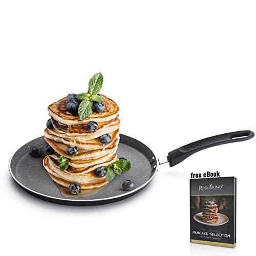 ROSMARINO Professionale Padella per Pancake, Paella, Fritatte Crepiera 25 cm per Induzione