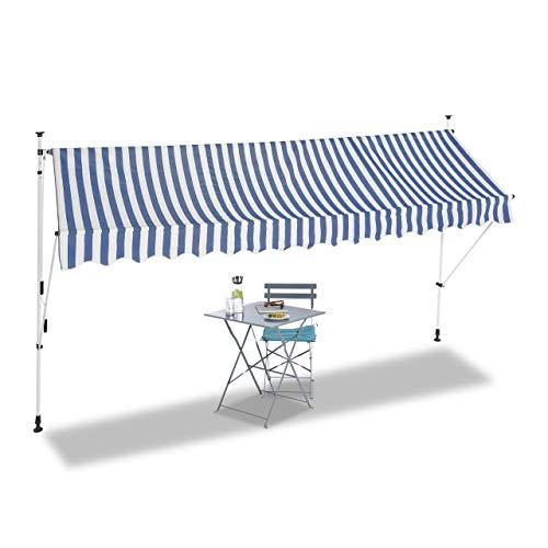 Relaxdays Klemmmarkise, Balkon Sonnenschutz, einziehbar, Fallarm, ohne Bohren, verstellbar, 400 cm breit, blau gestreift
